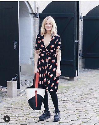 18d621b27e0d ... Bn Ganni Harley Crepe Wrap Dress Midi Skirt Floral Black Red Xs 6  Dalton Zara Hm