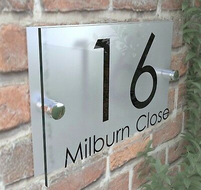Contemporary HOUSE SIGN / PLAQUE / DOOR / NUMBER / GLASS EFFECT ACRYLIC 4