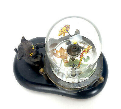 Animated Kitten Cat Catching Fish in Glass Case Novelty Clock 4
