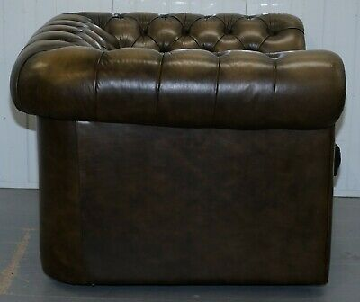 Stunning Pair Of Vintage Chesterfield Leather Club Armchairs Feather Cushions 8