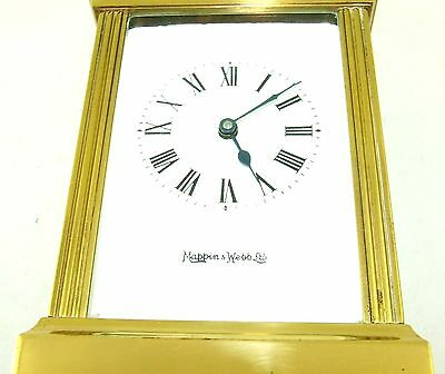 MAPPIN & WEBB Brass Carriage Mantel Clock Timepiece with Key  Working Order (54) 4