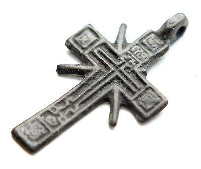 Ancient Russian Ortodox Bronze Cross Pendant (MAY80) 3