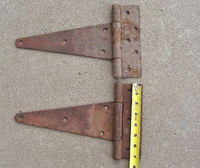Set of 2 Antique Primitive Steel Strap Hinges Barn Door Rusty 3
