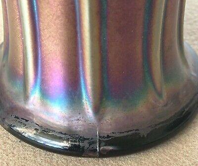 "Vintage Northwood Carnival Glass Nine 9 Rib Vase 6"" Tall Short Squatty 5"