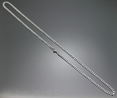 50Cm Silver 316L Stainless Steel 4Mm Curb Chain Mens Womens Unisex Necklace 6