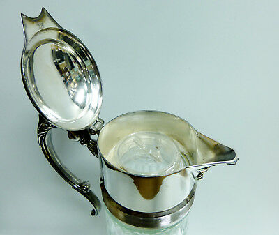 """Antique Silver Plated """"EP Zink Italy"""" 14in Glass Water Pitcher w/ Ice Container 4"""