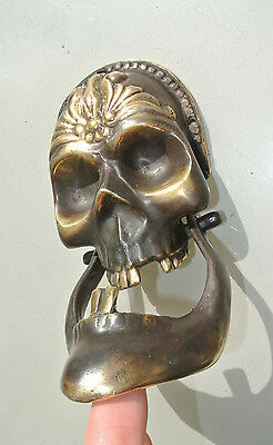 "SKULL head and JAW heavy front Door Knocker SOLID BRASS day of the dead 8"" 3"