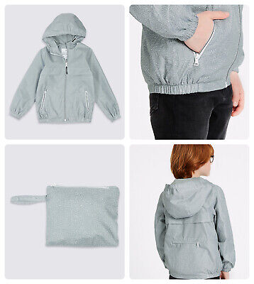 Packaway Jacket Mac Rain Coat Kids Boy Girl  NEW Ex M&S Age 3-16 Yrs Lightweight 5
