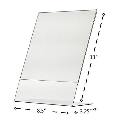 "8.5"" x 11"" Sign Holder Ad Frame Slant Back Counter Display Frame Acrylic Qty 12 3"