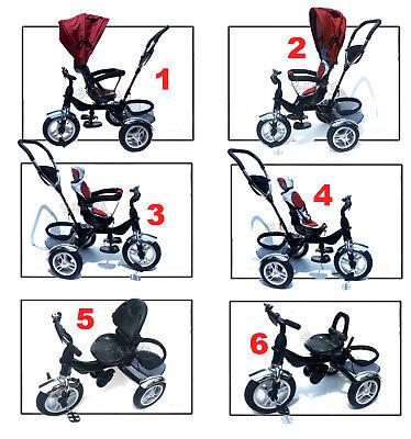 Triciclo Passeggino Per Bambino Bimbo Con Maniglione Direzionale Tettuccio Verde 3