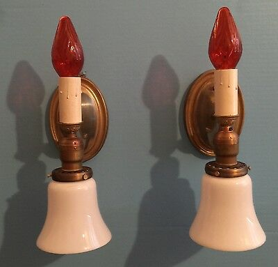 Pair 2 Candle & Glass Shade Wall Sconces Art Deco Beautiful Unique Rare 5