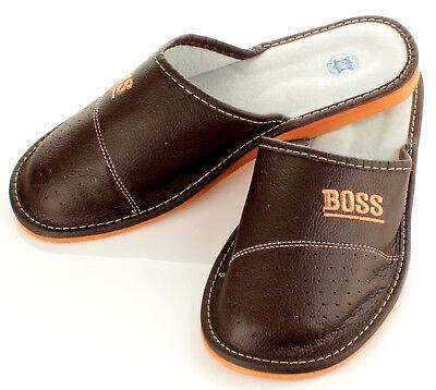 """Herren """"BOSS"""" Hausschuhe aus LEDER Pantoffeln Latschen Pantoletten Gr. 32-50 NEU 2"""