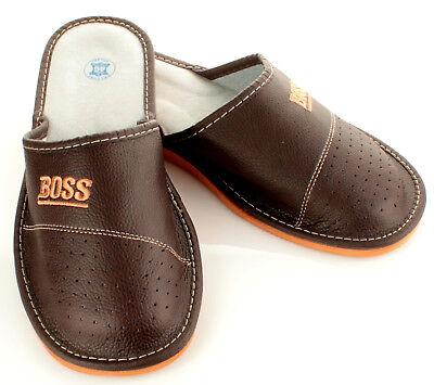 """Herren """"BOSS"""" Hausschuhe aus LEDER Pantoffeln Latschen Pantoletten Gr. 32-50 NEU 7"""