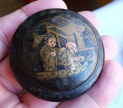Ancien Encrier Napoleon Iii En Carton Bouilli / Decor Chinoisant