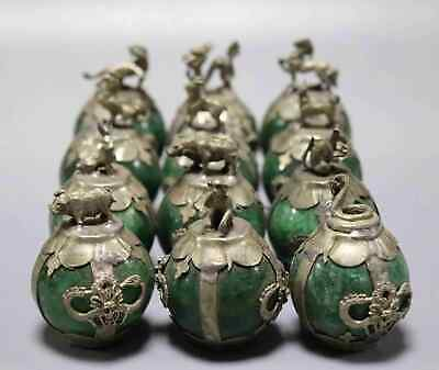 Collect Antique Tibet Silver Inlay Agate Carve China 12 Zodiac Auspicious Statue 3