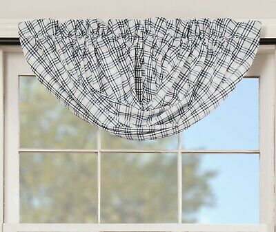 "60"" Denim Blue Plaid Balloon Valance Farmhouse Kitchen Bedroom Decor Sawyer Mill 2"