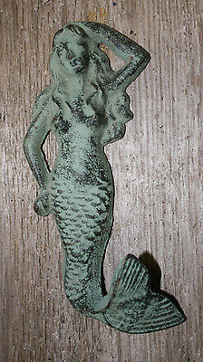 Cast Iron MERMAID Towel Hooks Hat Rack Nautical Swimming Pool Hook GREEN 2