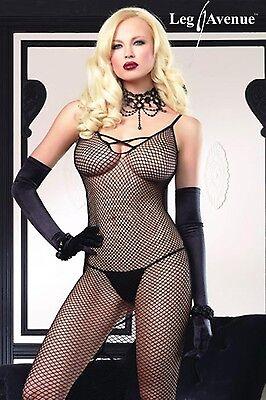 Sexy Abito Lungo Rete Nero Stringato Dietro Fishnet Gown  Leg Avenue Lingerie 3