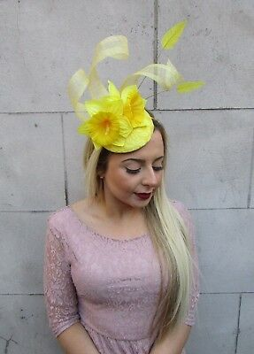 Yellow Daffodil Feather Flower Fascinator Pillbox Hat Races Ascot Floral 5022 3