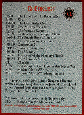 HAMMER HORROR - Series Two - Individual Card CL - Checklist - Cornerstone 1996 2