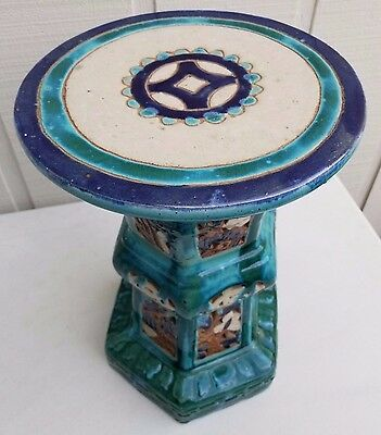 "20"" Antique Chinese Flambe Drip Glaze Pottery Turquoise Porcelain Alter Table 6"