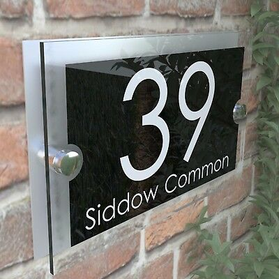 Contemporary House Sign Plaques Door Numbers 1 - 999 Personalised Name Plate 27B 4