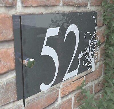 PLAQUE DOOR NUMBER ACRYLIC /& ALUMINIUM DEC1W-B MODERN HOUSE SIGN