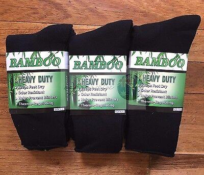 6 Pairs 98% BAMBOO SOCKS Men's Heavy Duty Premium Thick Work BLACK/Navy/Grey 5