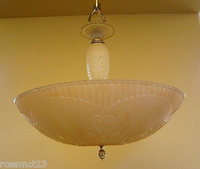 Vintage Lighting 1930s Art Deco Markel chandelier   Gorgeous Color 3