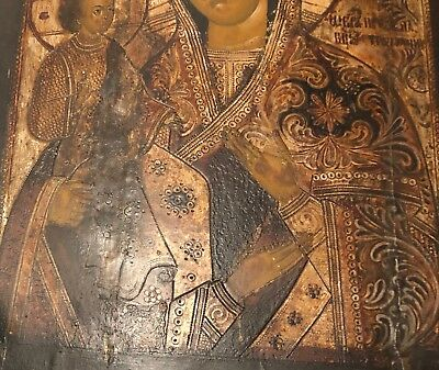 19th c Antique RUSSIAN ICON Mother of God Religious Orthodox Oil Painting Wood 6