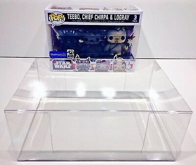 1 Box Protector For FUNKO POP! Smaller 3 packs.  Ewoks, Snap, Rush Etc.  READ!!! 9