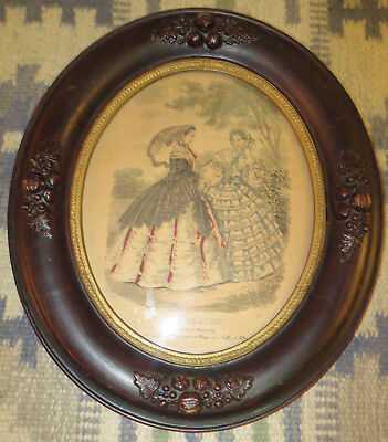 """2 Antique Edwardian Carved Wood 14"""" by 12-1/4"""" Oval Picture Frames 2"""
