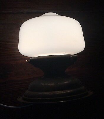 Vintage Antique Flush Mount Fixture Wired Milk White School House Shade Great!!! 4