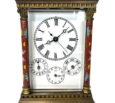 French Style Floral Red Enamel Brass 8 Day Repeater Calendar Carriage Clock 6