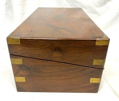 Antique Victorian Walnut & Brass Campaign Writing Box Slope SECRET DRAWERS 5