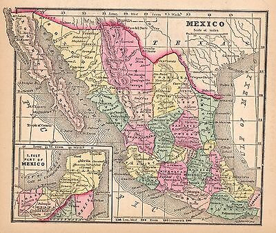 Hand Colored Original 1856 Antique Map Mexico Acapulco Yucatan Lower