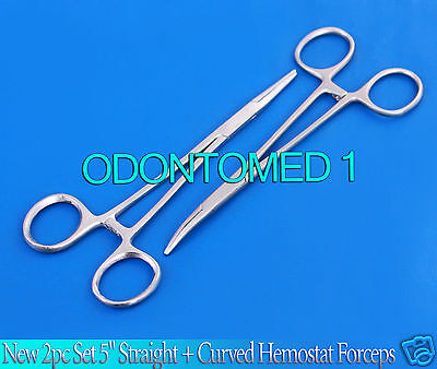 """New 2pc Set 5"""" Straight + Curved Hemostat Forceps Locking Clamps Stainless 2"""