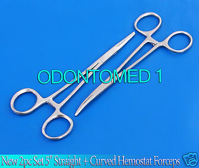 """New 2pc Set 5"""" Straight + Curved Hemostat Forceps Locking Clamps Stainless 3"""