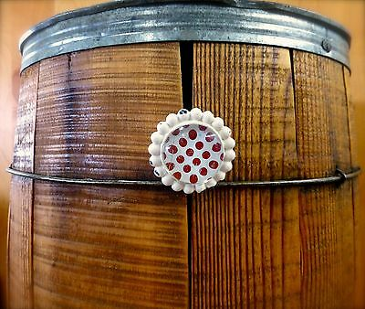 6 WHITE RED DOT FLOWER GLASS DRAWER CABINET PULLS KNOBS VINTAGE chic hardware