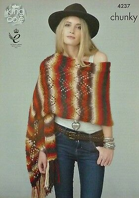 KNITTING PATTERN Ladies Lace Shawl/Wrap & Short Poncho RiotChunky King Cole 4237