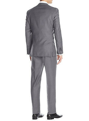 Luciano Natazzi Mens Two Button 2 Piece Birdseye Suit Modern Fit Jacket Pant 2