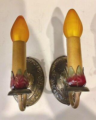 Decorative Pair Of Early Antique Brass Sconces with Great Patina Newly Wired 35A 2