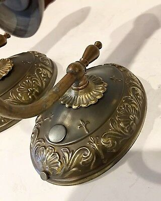 Decorative Pair Of Early Antique Brass Sconces with Great Patina Newly Wired 35A 4