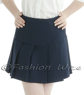 Girls Womens Pleated School Skirt Drop Waist Grey Black Navy Ages 5-16 Size 6-24 7