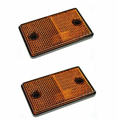 2x E-Approved Amber Orange Rectangular Reflectors Trailer Caravan Side Marker 2