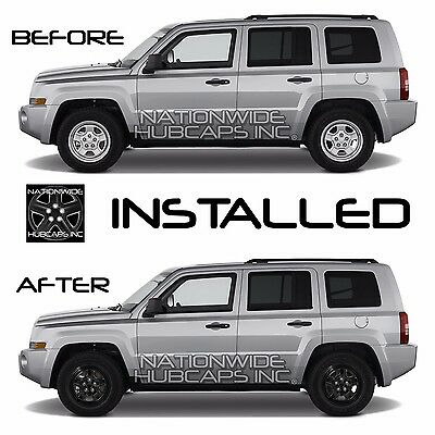 07 17 Jeep Patriot 16 Black Wheel Skins Hub Caps 5 Spoke Rim Covers