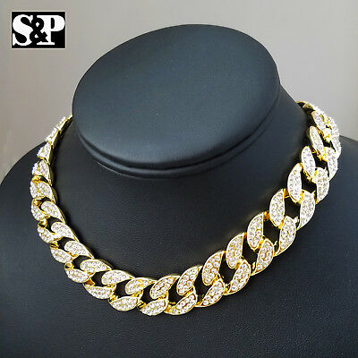 """Hip Hop Iced Gold PT 18"""" Cuban & Flower & 1 Row Tennis Choker Chain Necklace 3"""