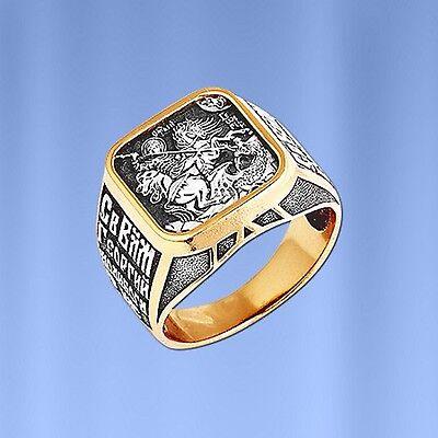 Heilige Georg Schutzring Russische Herrenring RING aus vergoldetem Silber 925