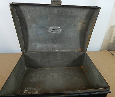 Vintage Tin Dome topper small storage chest Stationary etc 33cm x22cm hasp catch 7