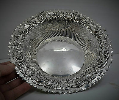 "Victorian Sterling Silver Bread bowl Repousse pierced border 9 "" M Bros 1891. 5"